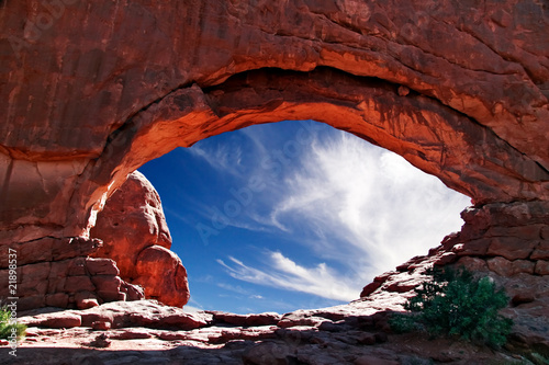 In de dag Natuur Park Sunny day in Arches Canyon. Utah. USA