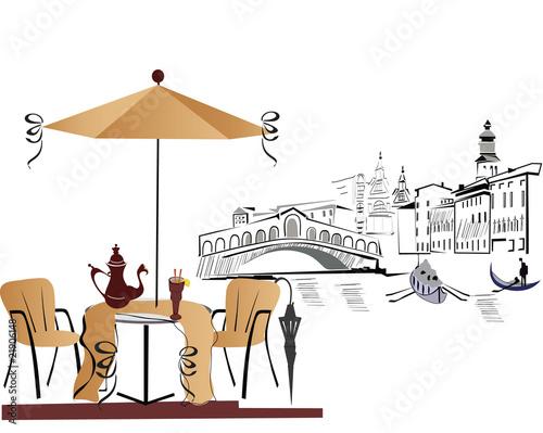 Foto auf AluDibond Gezeichnet Straßenkaffee Cafe in Italy