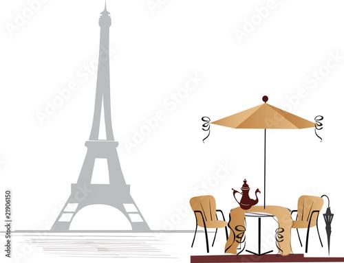 Foto auf AluDibond Gezeichnet Straßenkaffee Cafe in Paris