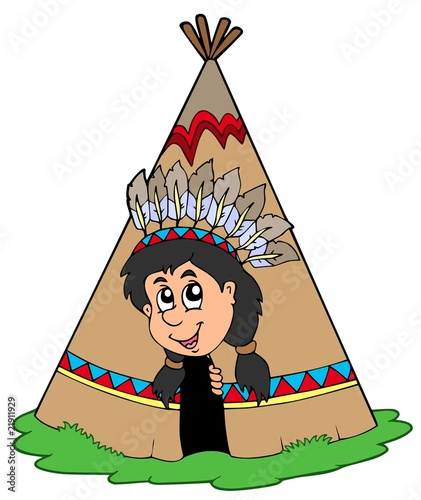 Poster Indiens Indian in small tepee