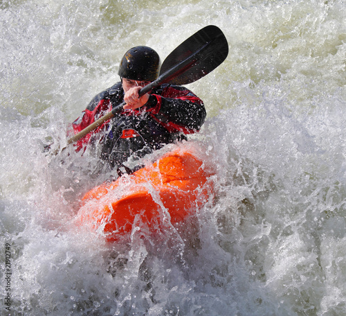 Fotografie, Obraz Kayaking on whitewater