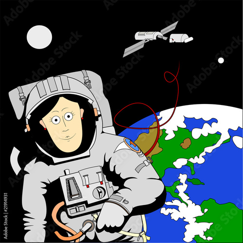 Foto op Canvas Kosmos Woman in space