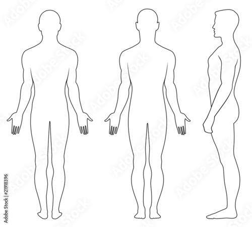 Full length profile, front, back view of a standing naked man - fototapety na wymiar