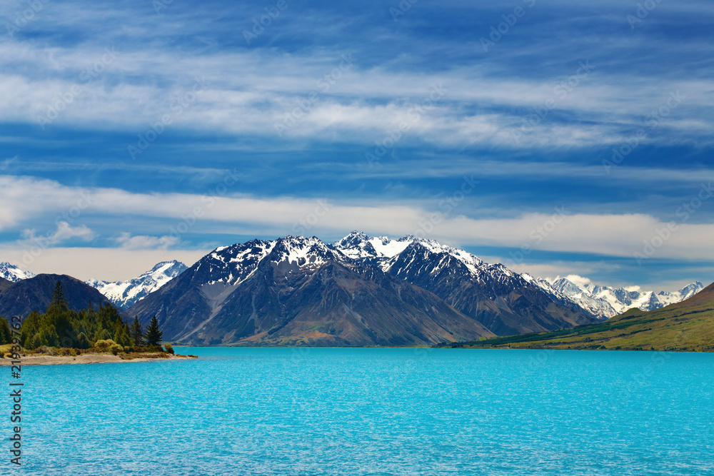 Fototapety, obrazy: Ohau lake, Southern Alps, New Zealand