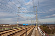 Railroad track in sunlight