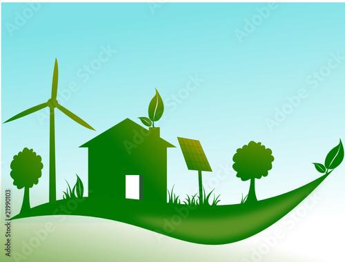 Papiers peints Turquoise Maison écologique avec éolienne et panneau solaire