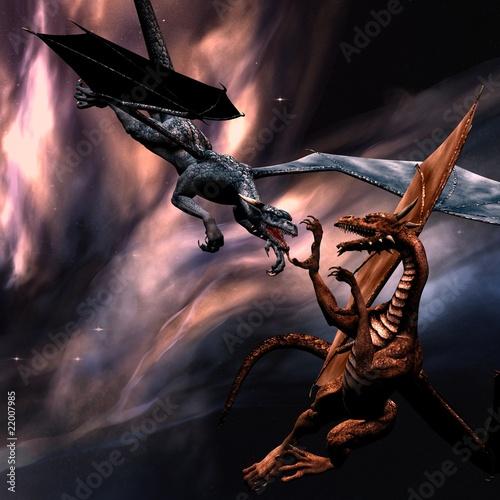 Poster Draken Fighting dragons