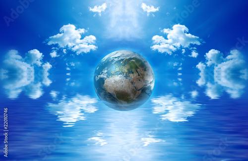 Fototapety, obrazy: Earth globe floating in water