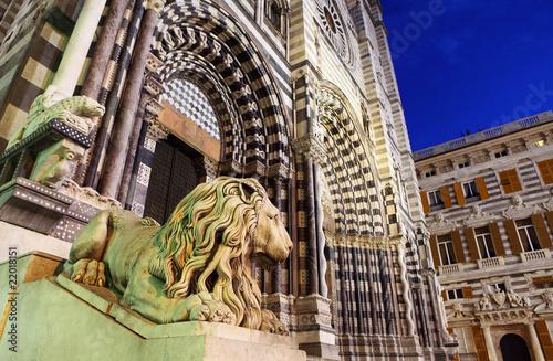 Fotografia  Cathedral of St. Lawrence (st Lorenzo) Genoa Italy