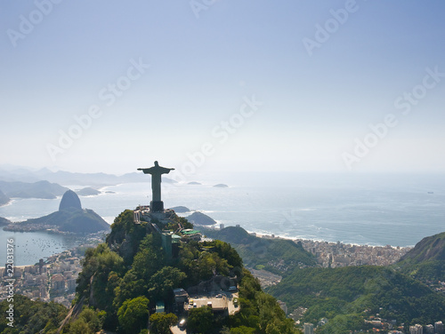 Spoed Foto op Canvas Brazilië Dramatic Aerial view of Rio De Janeiro