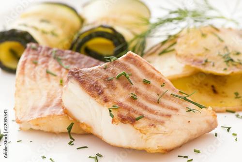 Tilapiini Filet mit Zucchini Fototapet