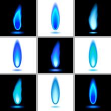 Flames - Set 1 - Blue