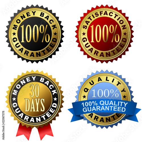 Fotografía  Vector set of 100% guarantee golden labels.