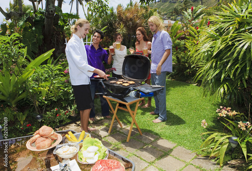 Friends At A Backyard Bar B Que In Hawaii Buy This Stock Photo And