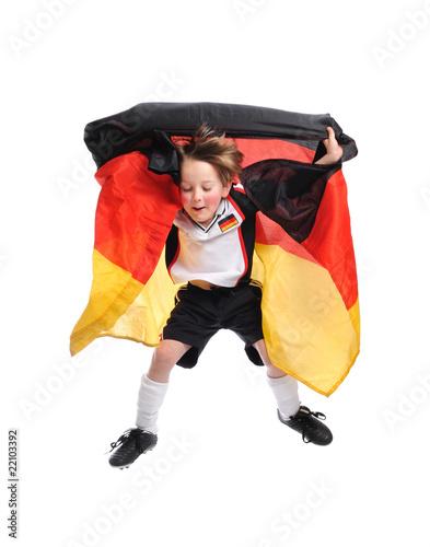 Foto op Aluminium Buffet, Bar Junge mit Deutschlandfahne springt in die luft