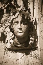 Sandstone Sculpture Of Female Head