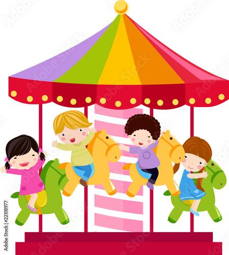 Fotografie, Obraz  Carousel and children