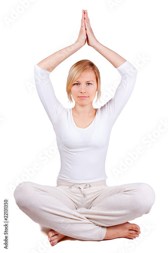 Obraz young woman relaxing separated on white - fototapety do salonu