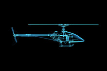 3D Rendered X-ray Transparent Blue Helicopter