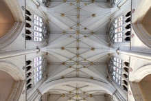 Churh In England Interior, York Minster Ornate Ceiling