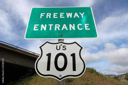Freeway Entrance Sign US 101 Poster