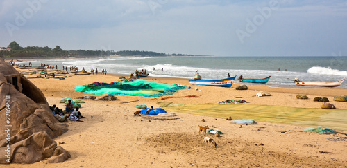 Mahabalipuram Beach Scene Billede på lærred