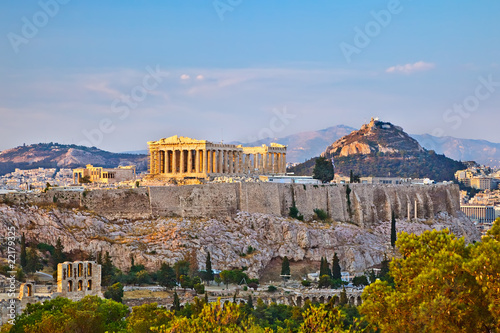 Foto auf Leinwand Athen View on Acropolis at sunset