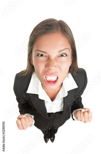 Angry businesswoman isolated Wallpaper Mural