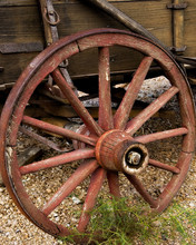 Old Wagon Wheel With Wooden Sp...