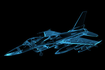 Panel Szklany Militaria 3D rendered blue xray transparent f16 falcon