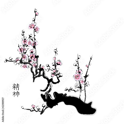 Sakura painting in chinese watercolour style