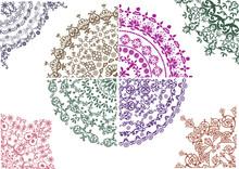 Different Color Floral Quadrants