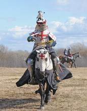 The Knight On Horseback And Holding In A Hand An Axe