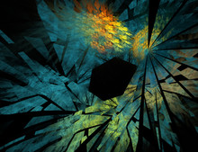 Colorful Fractal Broken Glass Abstract Image Isolated On Black