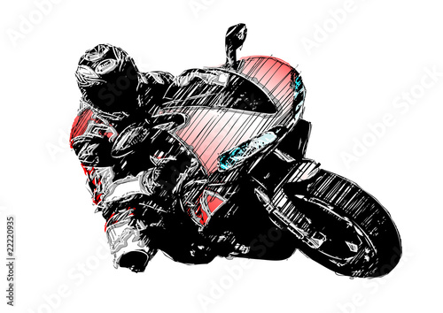 Photo isolated sketching of the motorcycle