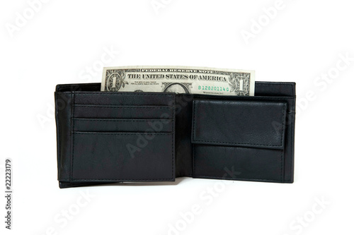 Fototapeta black leather wallet with dollar isolated on white obraz na płótnie