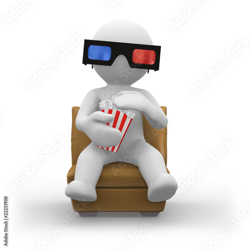 Photo  3d glasses with popcorn