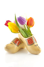 Pair Of Traditional Dutch Wooden Shoes With Tulips