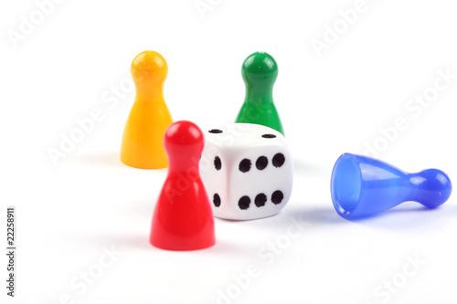 Fotografie, Obraz Pawns and dice board game