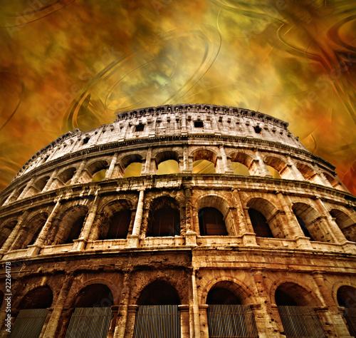 Colosseum on antique background Canvas Print
