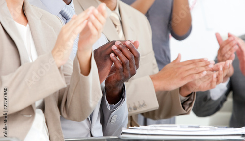 Fototapety, obrazy: Close-up of business people applauding in a meeting