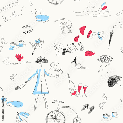 Fotobehang Doodle Memories of Paris (seamless set of doodles).