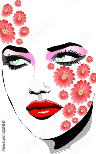 Foto op Canvas Bloemen vrouw Ragazza Con Tatuaggi di Fiori-Girl with Flowers Tattoos-Vector