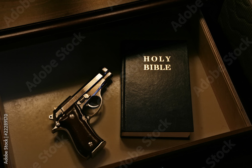The Bible and a pistol Wallpaper Mural
