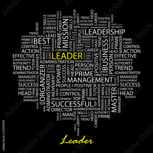 LEADER. Illustration with association terms. Poster