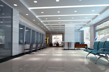 Modern Design Interior Of Business Hall. 3D Render