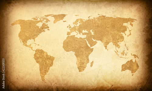 Staande foto Wereldkaart world map vintage artwork