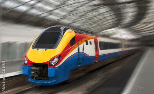 Fast Passenger Train with Motion Blur