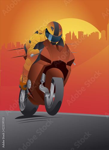 Poster Motocyclette Motorcycle vector great details and driver with helmet