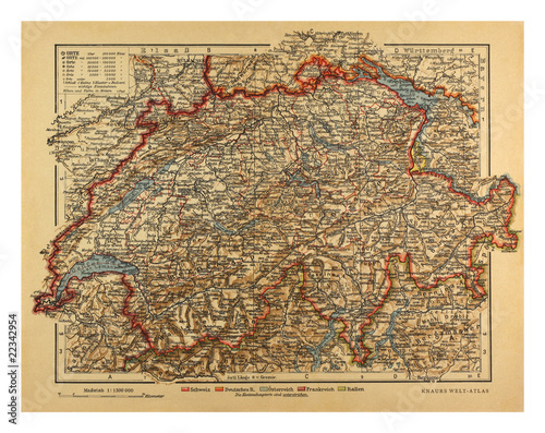 Vintage Switzerland Map from 1900 Billede på lærred